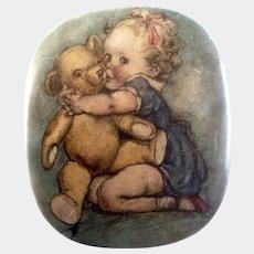 Thornes Premier Toffee Candy Tin Baby & Teddy Bear 1910-1930 Leeds, England