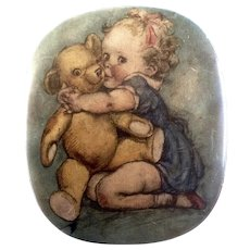 Thornes Premier Toffee Candy Tin Baby & Teddy Bear 1910-1930 Leeds, England