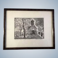 Havas, Church with Crucifix of Christ, Wood Block Print Signed by Artist