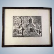 Havas, Wood Block Print, Church on a Hill With Crucifix of Christ, Signed by Artist