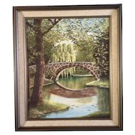 L Brauns, Impasto Plein Air Oil Painting on Canvas, Bridge Over a Pond Surrounded by Trees, Signed by Artist