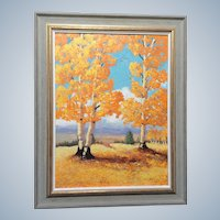 Elizabeth Kwaak Smischny (1936-1984) Aspen Trees Oil Painting Signed By Listed Artist
