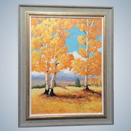 Elizabeth Kwaak Smischny (1936-1984), Plein Air Oil Painting on Board, Aspen Trees in Natural Wood Frame, Signed By Listed Artist