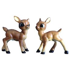 Adorable Deer Fawn Salt & Pepper Shakers Japan Vintage Mid-Century S & P Figurines