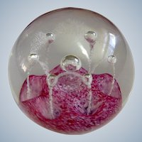 Caithness Paperweight Scotland Pink May Dance Rose Art Glass By Colin Terris 1980's