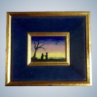 Raphael, Couple under Tree Enamel Painting on Copper or Steel Numbered Signed by Artist