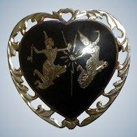 Siam Sterling Silver Heart Thia Dancers Nielloware Brooch c 1930-1949