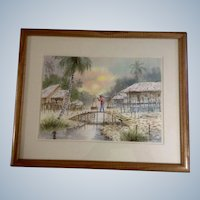 O Sinue, Watercolor Painting, Penang Malaysian Country Scene, Signed by Artist