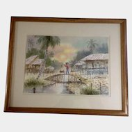 O Sinue, Watercolor Painting, Penang Malaysian Country Scene Man Walking Over a Village Bridge, Works on Paper, Signed by Artist