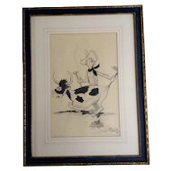Helen Wallace Pencil Animation Sketch Works on Paper given to Walt Disney by Ida M Snyder 1950 Cartoon Art Picture