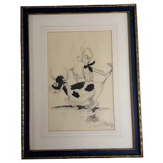 Given to Walt Disney Helen Wallace Pencil Animation Sketch Works on Paper gifted By Ida M Snyder 1950's Cartoon Art Picture