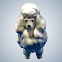 Mid-Century French Poodle Dog Figurine White Pearl with light Opalescent Glossy Sheen 1950's Ceramic