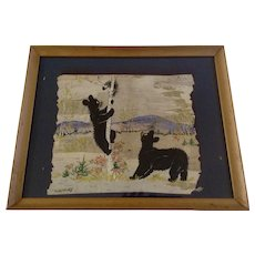 Lucille Shurtliff, Gouache Watercolor and Ink Painting Black Bears and Porcupine, Mixed Media Signed by Artist