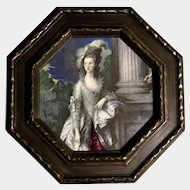 The Honorable Mrs. Graham, Ceramic Tile Figural Picture Transfer, Victorian Lady With Feather Hat Next to a Pillar