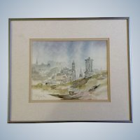 Tuscan Countryside Town Watercolor Painting Works on Paper Signed by Artist