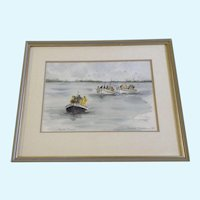 Janet Bester Spaun, Watercolor Painting, Kalk Bay, Cape Town, South Africa, Signed Listed Artist