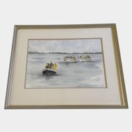 Janet Bester Spaun, Water Color Painting, Fishing Boats, Kalk Bay, Cape Town, South Africa, Works on Paper Signed by Listed Artist