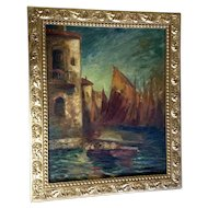 Old Oil Painting on Canvas Venetian Amalfi Coast Sailboats Next to Villa Signed by Artist Needs Restoration