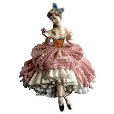 Martha Budich Dresden Lady Ballerina Figurine Porcelain Germany Holding a Rose 1950 - 1960