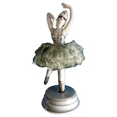 Masquerade Ballerina Dancer Mid-Century Twirls Lace Dress Japan Porcelain Figurine