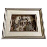 Vintage Framed Anton Pieck 3-D Shadow Box Print Framed Rare Art HTF