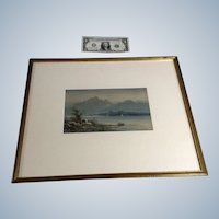 Thomas Mortimer (1880-1920) Watercolor Painting Boat Como Lake Italy Signed by Listed Artist