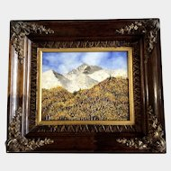 Joyce C. Musslewhite , (1925-2009) Oil Painting on Board Titled, Mt Meeker Longs in the Fall Signed by Colorado Artist