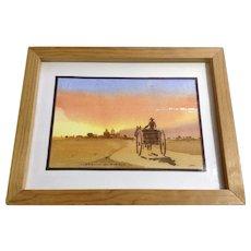 Llegando Al Pueblo, Coming to Town Watercolor Painting Monogrammed by Artist SM