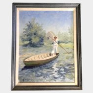 Ripley, Oil Painting on Canvas, Man Boating with a Push Pole, Signed by Artist