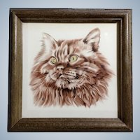 Somali Cat Tile Keramik Germany Ceramic AMS Wall Hanging in Wooden Frame