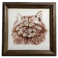 Somali Cat Keramik Germany Ceramic Tile AMS Wall Hanging in Wooden Frame