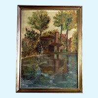 Susanna, Old Waterwheel Mill Oil Painting Painted on Canvas Board Signed by Artist