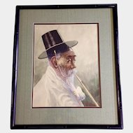 A. Campbell, Watercolor Painting, Korean Man With Ceremonial Black Gat Hat Smoking, Works on Paper, Signed by Artist