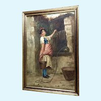 Francesco de Maria (1845 - 1908) Italian Girl Watercolor Painting Signed by Listed Artist