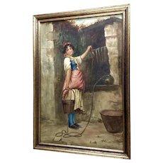 Francesco de Maria (1845 - 1908) Italian Girl Watercolor Painting
