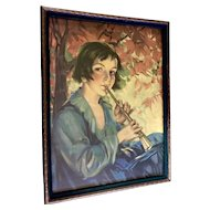 Vintage Lithograph Boy Blowing a Horn 1930's In Original Frame Old Print