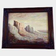 Lynne Hosid, Beautiful Desert Mountain Bluffs Oil Painting Signed by Artist
