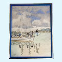 John MacCormack FARMER (1897-1989) Acrylic Painting Sailboat Leaving a Dock Signed by Listed Artist