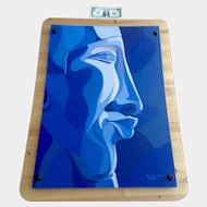Paul Blavier Blue Man Face Oil Painting on Board Mounted Behind Plexiglass Signed By Listed Artist