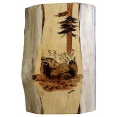 Karen Hill Watercolor Painting on Wood Plank Bear in the Woods, Arts and Crafts Signed by Artist