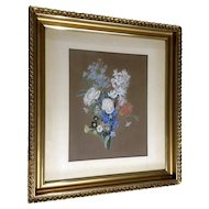 Frederike (Fr.) Meinert, Bouquet of Wildflowers Still Life Tempra and Watercolor Painting Mixed Media Works on Paper Signed by Listed German Artist