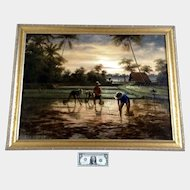 Bali Indonesia The Planting of the Rice Paddy Large Oil Painting Signed by Artist