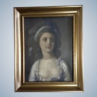 Watercolor Enhanced Aquatint Photo Print of a Lovely Young Lady, Painted Late 1800's