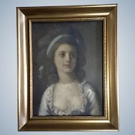 Watercolor Enhanced Hand Painted Aquatint Photo Print of a Lovely Young Lady, Painted Late 1800's