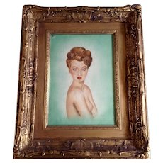 M Buame, Brunette Pin Up Girl 1947 Watercolor Painting