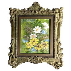 White and Yellow Daisies Wildflower Bouquet Small Oil Painting on Board Signed