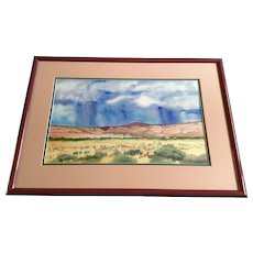 T Schellinger, Watercolor Painting, Nimbus Clouds Over a Desert Plateau Plein Air Works on Paper Signed by Artist