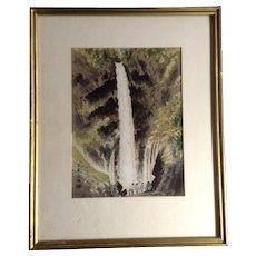 Kotozuka Eiichi Ukiyo-e Kegon-no-taki Fall in Autumn Woodblock Print Etching Listed Japanese Artist