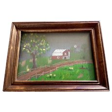 Small Folk Art  Red Barn and Windmill on the Hill 3D Dimensional Oil Painting on 4 Layers of Glass