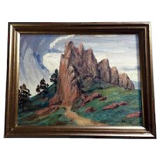Mount Sanitas Boulder Colorado 1935 Oil Painting on Board Signed by Artist